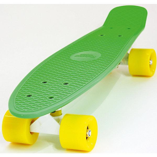 Купить Скейтборд Hubster Cruiser 22 с желтыми колесами, Скейтборд Hubster Cruiser 22 зеленый с желтыми колесами, Китай, Унисекс