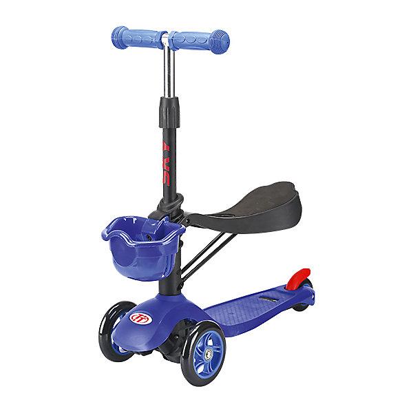 Трехколесный самокат TechTeam Sky Scooter New,синийСамокаты<br>Характеристики товара: <br><br>• возраст: от 2 лет;<br>• максимальная нагрузка на сидение: 20 кг;<br>• максимальная нагрузка на самокат: 40 кг;<br>• материал руля: алюминий;<br>• диаметр передних колес 120 мм, заднего 75 мм;<br>• материал колес: полиуретан;<br>• ножной тормоз;<br>• подшипник АВЕС 5 Carbon;<br>• высота руля: 61-71 см;<br>• размер упаковки: 59х28х15 см;<br>• вес упаковки: 2,5 кг.<br><br>Трехколесный самокат TechTeam Sky Scooter New синий — городской самокат-трансформер для самых маленьких пользователей. Он оснащен сидением для малышей, благодаря чему можно его использовать как каталку, сидя на сидении и отталкиваясь ножками от земли. Как только ребенок подрастет, сидение можно снять.<br><br>Благодаря паре передних колес на самокате достигается хорошая устойчивость, что позволит малышам легко осваивать навыки катания на самокате и держать равновесие. Колеса выполнены из износостойкого полиуретана. Они развивают хорошую скорость и делают катание ровным и бесшумным. <br><br>Руль можно отрегулировать по мере роста ребенка. На ручках руля прорезиненные грипсы, которые не дадут ладоням соскальзывать во время езды. На заднем колесе ножной тормоз, который обеспечит быстрое торможение. Дека выполнена из прочного полипропилена и имеет рифленую нескользящую поверхность. Спереди корзинка для вещей и игрушек.<br><br>Трехколесный самокат TechTeam Sky Scooter New синий можно приобрести в нашем интернет-магазине.<br>Ширина мм: 590; Глубина мм: 280; Высота мм: 150; Вес г: 2500; Цвет: синий; Возраст от месяцев: 24; Возраст до месяцев: 60; Пол: Унисекс; Возраст: Детский; SKU: 7925457;