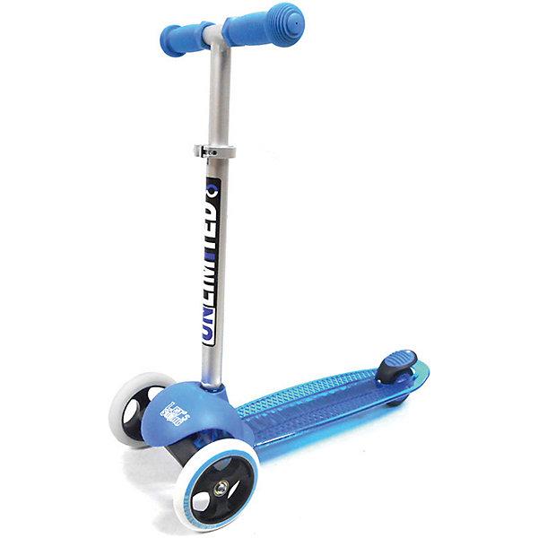 Самокат Unlimited MS05 синийСамокаты<br>Характеристики товара: <br><br>• возраст: от 1,5 лет;<br>• максимальная нагрузка: 50 кг;<br>• материал рамы: алюминий, пластик;<br>• диаметр передних колес 125 мм, заднего 100 мм;<br>• материал колес: полиуретан;<br>• ножной тормоз Step-on-brake;<br>• подшипник АВЕС 7;<br>• регулировка высоты руля;<br>• вес самоката: 2,5 кг;<br>• размер упаковки: 56х27х15 см;<br>• вес упаковки: 2,66 кг.<br><br>Самокат Unlimited MS05 синий — городской самокат для самых маленьких пользователей. Благодаря паре передних колес достигается хорошая устойчивость, что позволит малышам легко осваивать навыки катания на самокате и держать равновесие. Колеса выполнены из износостойкого полиуретана. Они развивают хорошую скорость и делают катание ровным и бесшумным. <br><br>Руль можно отрегулировать по мере роста ребенка. На ручках руля прорезиненные грипсы, которые не дадут ладоням соскальзывать во время езды. На заднем колесе ножной тормоз, который обеспечит быстрое торможение. Дека выполнена из прочного пластика и имеет рифленую нескользящую поверхность. Самокат легко складывается для переноски. <br><br>Самокат Unlimited MS05 синий можно приобрести в нашем интернет-магазине.<br>Ширина мм: 560; Глубина мм: 270; Высота мм: 150; Вес г: 2660; Цвет: синий; Возраст от месяцев: 24; Возраст до месяцев: 60; Пол: Унисекс; Возраст: Детский; SKU: 7925459;