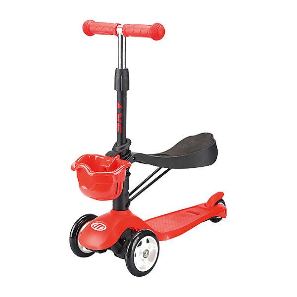 Трехколесный самокат TechTeam Sky Scooter New,красныйСамокаты<br>Характеристики товара: <br><br>• возраст: от 2 лет;<br>• максимальная нагрузка на сидение: 20 кг;<br>• максимальная нагрузка на самокат: 40 кг;<br>• материал руля: алюминий;<br>• диаметр передних колес 120 мм, заднего 75 мм;<br>• материал колес: полиуретан;<br>• ножной тормоз;<br>• подшипник АВЕС 5 Carbon;<br>• высота руля: 61-71 см;<br>• размер упаковки: 59х28х15 см;<br>• вес упаковки: 2,5 кг.<br><br>Трехколесный самокат TechTeam Sky Scooter New красный — городской самокат-трансформер для самых маленьких пользователей. Он оснащен сидением для малышей, благодаря чему можно его использовать как каталку, сидя на сидении и отталкиваясь ножками от земли. Как только ребенок подрастет, сидение можно снять.<br><br>Благодаря паре передних колес на самокате достигается хорошая устойчивость, что позволит малышам легко осваивать навыки катания на самокате и держать равновесие. Колеса выполнены из износостойкого полиуретана. Они развивают хорошую скорость и делают катание ровным и бесшумным. <br><br>Руль можно отрегулировать по мере роста ребенка. На ручках руля прорезиненные грипсы, которые не дадут ладоням соскальзывать во время езды. На заднем колесе ножной тормоз, который обеспечит быстрое торможение. Дека выполнена из прочного полипропилена и имеет рифленую нескользящую поверхность. Спереди корзинка для вещей и игрушек.<br><br>Трехколесный самокат TechTeam Sky Scooter New красный можно приобрести в нашем интернет-магазине.<br>Ширина мм: 590; Глубина мм: 280; Высота мм: 150; Вес г: 2500; Цвет: красный; Возраст от месяцев: 24; Возраст до месяцев: 60; Пол: Унисекс; Возраст: Детский; SKU: 7925463;