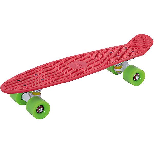 Пенни борд Hubster Cruiser 22  красный с зелеными колесамиСкейтборды и лонгборды<br>Характеристики товара: <br><br>• возраст: от 5 лет;<br>• максимальная нагрузка: 90 кг;<br>• диаметр колес: 59 мм;<br>• материал колес: полиуретан;<br>• жесткость колес: 78А;<br>• размер платформы: 56х15 см;<br>• материал платформы: пластик;<br>• подшипник АВЕС 7;<br>• подвеска: алюминий, 3 дюйма;<br>• размер упаковки: 57х13х10 см;<br>• вес упаковки: 1,9 кг.<br><br>Пенни борд Hubster Cruiser 22 красный с зелеными колесами — популярное средство передвижения по городу, подойдет как для детей и подростков, так и взрослых. Колеса выполнены из полиуретана, они обеспечивают ровное катание и хорошее сцепление  поверхностью, не гремят по асфальту и не скользят на влажном покрытии.<br><br>Подшипники обеспечивают хороший накат и высокую скорость. Платформа выполнена из прочного пластика и усилена стекловолокном и выдерживает большие нагрузки. Поверхность деки рифленая, она препятствует соскальзыванию ног во время езды. <br><br>Пенни борд Hubster Cruiser 22 красный с зелеными колесами можно приобрести в нашем интернет-магазине.<br>Ширина мм: 570; Глубина мм: 130; Высота мм: 100; Вес г: 1900; Цвет: красный; Возраст от месяцев: 60; Возраст до месяцев: 2147483647; Пол: Унисекс; Возраст: Детский; SKU: 7925475;