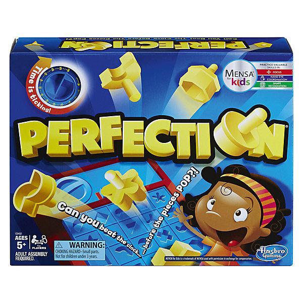 Настольная игра Hasbro Gaming ПерфекшнРазвивающие настольные игры<br>Характеристики:<br><br>• возраст: от 5 лет;<br>• материал: пластик;<br>• в наборе: 25 геометрических кубов,<br>игровая доска с таймером;<br>• вес упаковки: 948 гр.;<br>• размер упаковки: 7,9х33,5х26,9 см;<br>• страна бренда: США.<br><br>Настольная развивающая игра «Перфекшн» от Hasbro отлично тренирует внимательность, логическое мышление и ловкость.<br><br>Ребенку предстоит успеть разместить все 25 фигурок по формам на доске. Сделать это нужно быстро – когда таймер остановит счет, игра закончится. Для совсем маленьких игроков можно обойтись игрой без таймера.<br><br>После игры фигурки можно сложить в лоток под игровым полем. Сделано из прочного безопасного пластика.<br><br>Настольную развивающую игру «Перфекшн» можно купить в нашем интернет-магазине.<br>Ширина мм: 79; Глубина мм: 335; Высота мм: 269; Вес г: 948; Возраст от месяцев: 60; Возраст до месяцев: 2147483647; Пол: Унисекс; Возраст: Детский; SKU: 7925477;