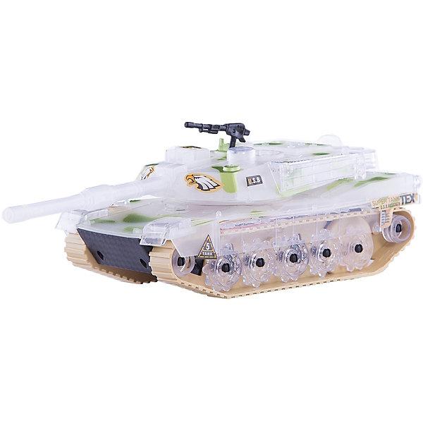 Танк Zhorya Боевой танк Леопард, со светом и звукомВоенный транспорт<br>Характеристики:<br><br>• возраст: 3+;<br>• материал: пластик;<br>• размеры: 24х10х11 см;<br>• вес: 380 г.<br><br>Яркий игрушечный боевой танк очень напоминает настоящую модель военной техники. Все детали танка тщательно проработаны, есть оружие.<br><br>Игрушка оснащена датчиками звука и света. Во время игры машинка издает сигналы движения и светится.<br><br>Военный танк можно использовать в игре с разными сюжетами: принять участие в сражении, охранять территорию, перевозить солдат. Мальчики смогут почувствовать себя водителем настоящей боевой машины.<br><br>Работает от батареек (в комплект не входят).<br><br>Танк «Леопард. Боевой танк» прозрачный, (со светом и звуком), Zhorya можно приобрести в нашем интернет-магазине.<br>Ширина мм: 240; Глубина мм: 100; Высота мм: 110; Вес г: 380; Возраст от месяцев: 36; Возраст до месяцев: 2147483647; Пол: Мужской; Возраст: Детский; SKU: 7925537;