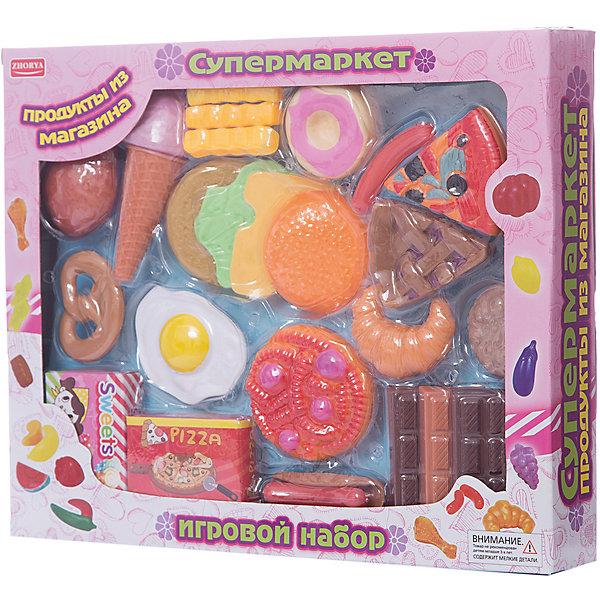 Игровой набор Zhorya Супермаркет, Продукты к завтракуИгрушечные продукты питания<br>Характеристики:<br><br>• возраст: 3+;<br>• материал: пластик;<br>• в комплекте: 23 предмета;<br>• размеры: 34х6х20 см;<br>• вес: 368 г.<br><br>Детский игровой набор очень понравится девочкам и мальчикам. В нем есть все, что нужно маленькой хозяйке для приготовления завтрака. Малыши с удовольствием устроят игру на импровизированной кухне.<br><br>В игровой форме можно научить ребенка готовить завтрак для всей семьи. Все предметы из набора можно использовать в качестве счетного материала, изучать их назначение, форму, структуру, цвет.<br><br>«Игровой набор продуктов к завтраку. Супермаркет», Zhorya можно приобрести в нашем интернет-магазине.<br>Ширина мм: 340; Глубина мм: 60; Высота мм: 200; Вес г: 368; Возраст от месяцев: 36; Возраст до месяцев: 2147483647; Пол: Женский; Возраст: Детский; SKU: 7925577;