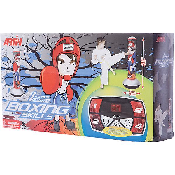 Игровой набор ARTIN Боксёрские навыкиНастольные игры для всей семьи<br>Характеристики товара:<br><br>• возраст: от 3 лет;<br>• в комплекте: надувная груша;<br>• тип батареек: 3 батарейки АА;<br>• наличие батареек: в комплект не входят;<br>• размер груши: 126х52 см;<br>• размер упаковки: 55х31х17 см;<br>• вес упаковки: 880 гр.<br><br>Игра «Боксерские навыки» Antin способствует развитию боксерских навыков и реакции. На пол ставится надувная груша на специальное основание. На ней есть экран, на котором загорается номер ячейки. Ребенку нужно ударить по данной ячейке рукой или ног. По ходу игры идет подсчет очков.<br><br>Игру «Боксерские навыки» Antin можно приобрести в нашем интернет-магазине.<br>Ширина мм: 550; Глубина мм: 170; Высота мм: 310; Вес г: 880; Возраст от месяцев: 36; Возраст до месяцев: 168; Пол: Унисекс; Возраст: Детский; SKU: 7925611;