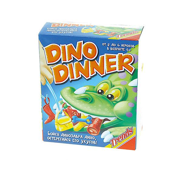 Настольная игра Trends International ДинозаврНастольные игры для всей семьи<br>Характеристики товара:<br><br>• возраст: от 4 лет;<br>• материал: пластик;<br>• в комплекте: динозавр, предметы;<br>• количество игроков: 2-4;<br>• размер упаковки: 27х22х12 см;<br>• вес упаковки: 480 гр.<br><br>Настольная игра «Динозавр» Trends — увлекательная детская настольная игра. Для начала динозаврику в пасть кладут различные предметы, а затем начинают их потихоньку вынимать. Но задача усложняется тем, что у динозавра подвижная челюсть, и пасть может закрыться в любой момент.<br><br>Настольную игру «Динозавр» Trends<br>Ширина мм: 220; Глубина мм: 120; Высота мм: 270; Вес г: 480; Возраст от месяцев: 48; Возраст до месяцев: 168; Пол: Унисекс; Возраст: Детский; SKU: 7925631;