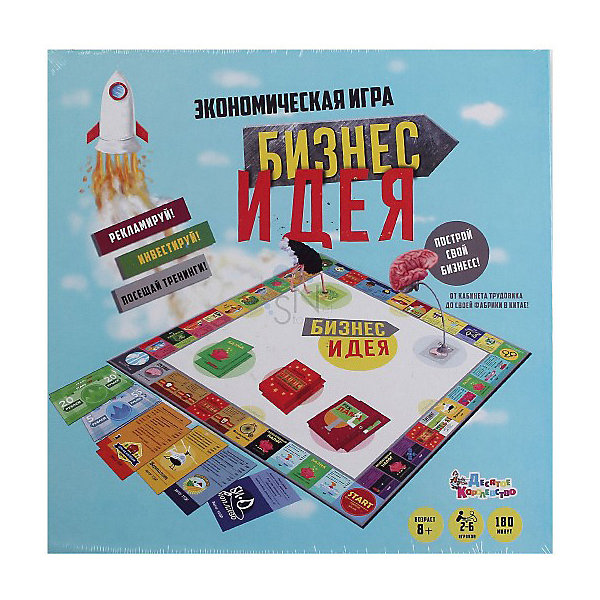 Экономическая игра Десятое королевство Бизнес идеяЭкономические настольные игры<br>Характеристики:<br><br>• тип игрушки: настольная игра;<br>• возраст: от 8 лет;<br>• материал: картон, пластик;<br>• комплектация:  игровое поле, кубики, фишки, карточки, правила игры, деньги;<br>• ISBN: 4606088019130;<br>• вес: 711 гр;<br>• размер: 23,5х34,5х3,5 см;<br>• бренд:  Десятое королевство.<br><br>Игра экономическая Десятое королевство «Бизнес идея» - это классическая игра, в которой вы можете покупать, арендовать и продавать свою собственность. В начале игры участники выставляют свои фишки на поле «Старт», затем перемешивают их по игровому полю в зависимости от выпавшего на кубиках количества очков. Если вы попадаете на участок стартапа, который пока еще никому не принадлежит, то вы можете купить этот стартап у Банка. <br><br>Если вы решаете не покупать его, он может быть продан на Аукционе другому игроку, предложившему за него самую высокую цену. Игроки, которые имеют своим стартапы, могут взимать арендную плату с игроков, которые попадают на их Участок. Повышая уровень своего стартапа, арендная плата значительно возрастает, поэтому вам следует развиваться на как можно большем количестве Участков. Если вы нуждаетесь в дополнительных деньгах, вы можете заложить ваш стартап.<br><br>Игру экономическую Десятое королевство «Бизнес идея» можно купить в нашем интернет-магазине.<br>Ширина мм: 280; Глубина мм: 280; Высота мм: 35; Вес г: 72; Возраст от месяцев: 96; Возраст до месяцев: 168; Пол: Унисекс; Возраст: Детский; SKU: 7926001;