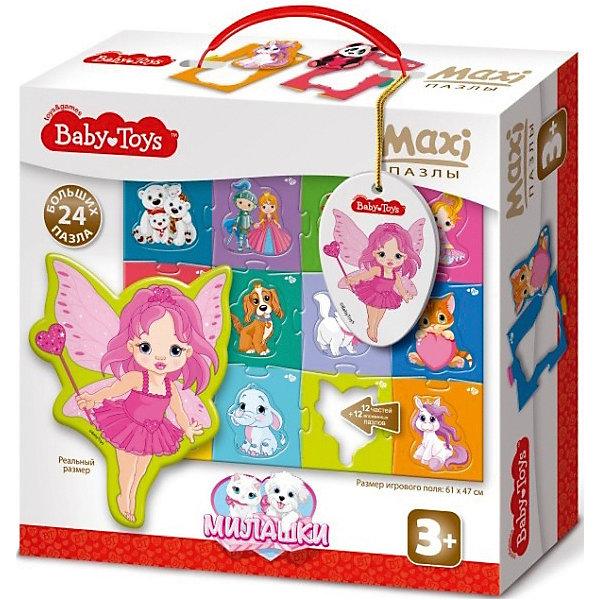 Макси пазлы Baby Toys Милашки, 24 элемента на поле 61х47смПазлы для малышей<br>Характеристики товара:<br><br>• возраст: от 3 лет;<br>• количество элементов: 24 шт;<br>• материал: картон;<br>• размер упаковки: 25х24х7 см;<br>• вес упаковки: 460 гр.;<br>• страна бренда: Россия.<br><br>Макси пазлы Baby Toys Техника – это увлекательный пазл для самых маленьких. Отлично подходит для развития мелкой моторики, логики и усидчивости.<br><br>Пазлы изготовлены из высококачественного многослойного картона, толщиной более 2 мм, благодаря чему элементы не теряют форму и остаются ровными. Лицевая сторона элементов защищена слоем специального экологически чистого покрытия, который препятствует быстрому истиранию и выцветанию цветных картинок.<br><br>Макси пазлы Baby Toys Техника  можно купить в нашем интернет-магазине.<br>Ширина мм: 255; Глубина мм: 240; Высота мм: 77; Вес г: 615; Возраст от месяцев: 36; Возраст до месяцев: 60; Пол: Унисекс; Возраст: Детский; SKU: 7926214;