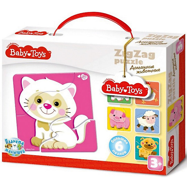 Макси пазлы Baby Toys зигзаг Домашние животные, 18 элементовПазлы для малышей<br>Характеристики товара:<br><br>• возраст: от 3 лет;<br>• количество элементов: 18 шт;<br>• материал: картон;<br>• размер упаковки: 23х18х4 см;<br>• вес упаковки: 300 гр.;<br>• страна бренда: Россия.<br><br>Макси пазлы Baby Toys зигзаг Домашние животные  – это увлекательный пазл для самых маленьких. Отлично подходит для развития мелкой моторики, логики и усидчивости.<br>Оригинальный пазл познакомит нас с  изображением веселых домашних животных.<br><br>Пазлы изготовлены из высококачественного многослойного картона, толщиной более 2 мм, благодаря чему элементы не теряют форму и остаются ровными. Лицевая сторона элементов защищена слоем специального экологически чистого покрытия, который препятствует быстрому истиранию и выцветанию цветных картинок.<br><br>Макси пазлы Baby Toys зигзаг Домашние животные  можно купить в нашем интернет-магазине.<br>Ширина мм: 235; Глубина мм: 180; Высота мм: 48; Вес г: 273; Возраст от месяцев: 36; Возраст до месяцев: 60; Пол: Унисекс; Возраст: Детский; SKU: 7926222;