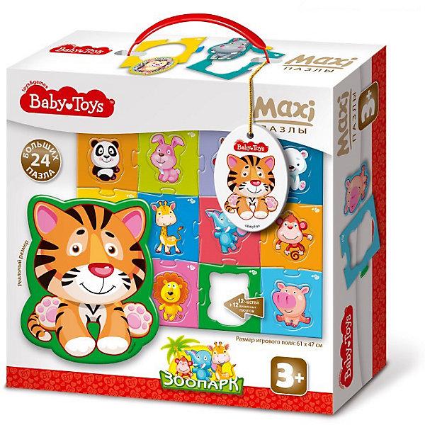 Макси пазлы Baby Toys Зоопарк, 24 элемента на поле 61х47смПазлы для малышей<br>Характеристики товара:<br><br>• возраст: от 3 лет;<br>• количество элементов: 24 шт;<br>• материал: картон;<br>• размер упаковки: 25х24х7 см;<br>• вес упаковки: 460 гр.;<br>• страна бренда: Россия.<br><br>Макси пазлы Baby Toys Зоопарк – это увлекательный пазл для самых маленьких. Отлично подходит для развития мелкой моторики, логики и усидчивости.<br><br>Пазлы изготовлены из высококачественного многослойного картона, толщиной более 2 мм, благодаря чему элементы не теряют форму и остаются ровными. Лицевая сторона элементов защищена слоем специального экологически чистого покрытия, который препятствует быстрому истиранию и выцветанию цветных картинок.<br><br>Макси пазлы Baby Toys Зоопарк  можно купить в нашем интернет-магазине.<br>Ширина мм: 255; Глубина мм: 240; Высота мм: 77; Вес г: 615; Возраст от месяцев: 36; Возраст до месяцев: 60; Пол: Унисекс; Возраст: Детский; SKU: 7926226;
