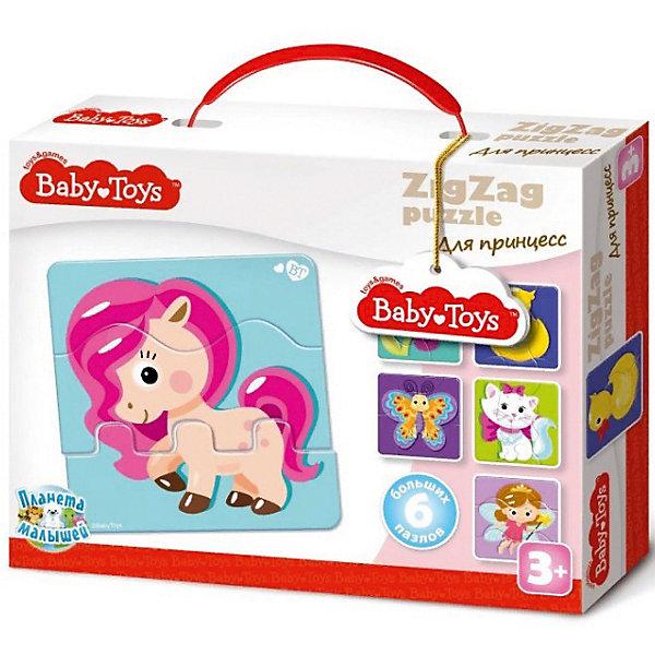 Макси пазлы Baby Toys зигзаг Для принцесс, 18 элементовПазлы для малышей<br>Характеристики товара:<br><br>• возраст: от 3 лет;<br>• количество элементов: 18 шт;<br>• материал: картон;<br>• размер упаковки: 23х18х4 см;<br>• вес упаковки: 300 гр.;<br>• страна бренда: Россия.<br><br>Макси пазлы Baby Toys зигзаг Для принцесс  – это увлекательный пазл для самых маленьких. Отлично подходит для развития мелкой моторики, логики и усидчивости.<br>Оригинальный пазл познакомит нас с  изображением сказочных принцесс.<br><br>Пазлы изготовлены из высококачественного многослойного картона, толщиной более 2 мм, благодаря чему элементы не теряют форму и остаются ровными. Лицевая сторона элементов защищена слоем специального экологически чистого покрытия, который препятствует быстрому истиранию и выцветанию цветных картинок.<br><br>Макси пазлы Baby Toys зигзаг Для принцесс  можно купить в нашем интернет-магазине.<br>Ширина мм: 235; Глубина мм: 180; Высота мм: 48; Вес г: 273; Возраст от месяцев: 36; Возраст до месяцев: 60; Пол: Унисекс; Возраст: Детский; SKU: 7926228;