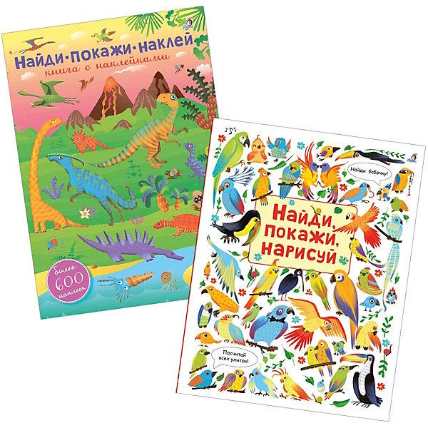 Набор-активити Найди и покажи, РобинсКнижки с наклейками<br>Характеристики:<br><br>• ISBN: 460-7-0583-7721-2;<br>• возраст: от 3 лет;<br>• иллюстрации: цветные;<br>• в комплекте: 600 наклеек;<br>• издательство: Робинс;<br>• количество страниц: 38;<br>• размеры: 23х20х1 см;<br>• масса: 753 г.<br><br>В состав комплекта входит книга с наклейками Найди, покажи, наклей, в которой более 600 разнообразных наклеек животных и 12 красочных разворотов, которые необходимо украсить наклейками. Ребёнок сможет создать собственные картины и познакомиться с динозаврами, дикими и домашними животными, с обитателями лесов, морей и океанов. <br><br>А также, в комплект входит книга Найди, покажи, нарисуй- это книга для непосед. Яркие красочные картинки-паттерны с множеством разных животных, птиц и насекомых научат малыша концентрировать внимание, помогут развить усидчивость, творческое мышление и познакомят с богатым животным миром. <br><br>Набор-активити Найди и покажи можно приобрести в нашем интернет-магазине.<br>Ширина мм: 295; Глубина мм: 210; Высота мм: 19; Вес г: 753; Возраст от месяцев: 36; Возраст до месяцев: 6; Пол: Унисекс; Возраст: Детский; SKU: 7926254;