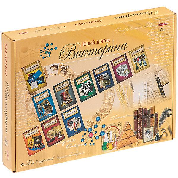 Настольнаня игра Рыжий кот Викторина. Юный знаток, 108 карточекВикторины и ребусы<br>Характеристики:<br><br>• возраст: от 12 лет;<br>• количество игроков: 2-4;<br>• в наборе: 1 игровое поле, 108 карточек с вопросами, 4 фишки, 1 кубик, правила игры;<br>• вес упаковки: 302 гр.;<br>• размер упаковки: 34х26,5х48 см;<br>• страна бренда: Россия.<br><br>В викторине «Юный знаток» от бренда «Рыжий кот» предстоит сразиться в битве знаний на темы точных и гуманитарных наук. Победит игрок с наибольшим количеством правильных ответов. Настольная игра развивает внимательность, память и расширяет кругозор.<br><br>Викторину 108 карточек, «Юный знаток» можно купить в нашем интернет-магазине.<br>Ширина мм: 340; Глубина мм: 265; Высота мм: 480; Вес г: 302; Возраст от месяцев: 144; Возраст до месяцев: 2147483647; Пол: Унисекс; Возраст: Детский; SKU: 7926635;