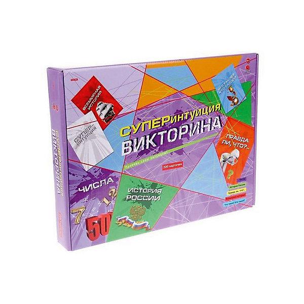 Настольнаня игра Рыжий кот Викторина. Суперинтуиция, 200 карточекВикторины и ребусы<br>Характеристики:<br><br>• возраст: от 10 лет;<br>• количество игроков: 2-4;<br>• в наборе: 200 карточек, игровое поле, 4 фишки, правила игры;<br>• вес упаковки: 485 гр.;<br>• размер упаковки: 34х26,5х48 см;<br>• страна бренда: Россия.<br><br>В викторине «Суперинтуиция» от бренда «Рыжий кот» предстоит пройти до конца игрового поля, правильно отвечая на всевозможные вопросы игры. Настольная игра развивает внимательность, память и расширяет кругозор.<br><br>Викторину 200 карточек, «Суперинтуиция» можно купить в нашем интернет-магазине.<br>Ширина мм: 340; Глубина мм: 265; Высота мм: 480; Вес г: 485; Возраст от месяцев: 120; Возраст до месяцев: 2147483647; Пол: Унисекс; Возраст: Детский; SKU: 7926683;