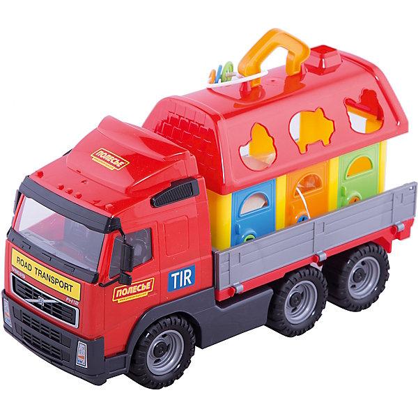 Машинка с сортером Полесье Volvo, в коробкеРазвивающие игрушки<br>Характеристики:<br><br>• тип игрушки: машинка;<br>• возраст: от 3 лет;<br>• материал: пластик;<br>• цвет: красный, черный;<br>• вес: 2,1 кг;<br>• размер: 54х20х26 см;<br>• страна бренда: Беларусь;<br>• бренд:  Полесье.<br> <br>Автомобиль бортовой + домик для зверей «Volvo» (в коробке) Полесье - эффектная и надежная модель для игр дома и на улице. Грузовик имеет детализированную кабину с салоном и кузовом с откидными бортами. В комплекте вы найдете домик для зверушек. Домик – это сортер с цветными дверками, отпираемыми ключиками разных форм. В крыше сделаны фигурные отверстия –  к ним необходимо подобрать подходящих зверушек (щенка, поросенка, уточку, курочку, белку и кролика). Сверху имеется специальная ручка.<br><br>Борта машины откидные. Колеса – 3 пары, с рельефными покрышками. Материал игрушки – прочный пластик с безопасным составом. Игрушка упакована в аккуратную и красивую коробку с окошком.<br><br>Автомобиль бортовой + домик для зверей «Volvo» (в коробке) Полесье можно купить в нашем интернет-магазине.<br>Ширина мм: 540; Глубина мм: 200; Высота мм: 260; Вес г: 2110; Возраст от месяцев: 36; Возраст до месяцев: 2147483647; Пол: Мужской; Возраст: Детский; SKU: 7927312;