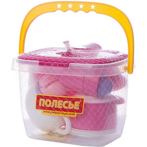 Набор игрушечной посуды Полесье Настенька 29 предметов на 4 персоны, в ведёркеДетские кухни<br>Характеристики:<br><br>• тип игрушки: набор;<br>• возраст: от 3 лет;<br>• материал: пластик;<br>• комплектация:  контейнер для посуды, кастрюля,  сковородка, чайник, 4 чашки, 4 тарелки, столовые приборы;<br>• цвет: розовый;<br>• вес: 576 гр;<br>• размер: 25х18х17  см;<br>• страна бренда: Беларусь;<br>• бренд:  Полесье.<br><br>Набор детской посуды «Настенька» на 4 персоны (29 элементов) (в ведёрке) Полесье - набор ярко-розового цвета в удобном пластиковом ведерке. Набор порадует девочек от 3 лет и старше. Он включает в себя все необходимое для интересной игры.<br><br>Набор детской посуды «Настенька» на 4 персоны (29 элементов) (в ведёрке) Полесье можно купить в нашем интернет-магазине.<br>Ширина мм: 250; Глубина мм: 180; Высота мм: 170; Вес г: 576; Возраст от месяцев: 36; Возраст до месяцев: 2147483647; Пол: Унисекс; Возраст: Детский; SKU: 7927316;