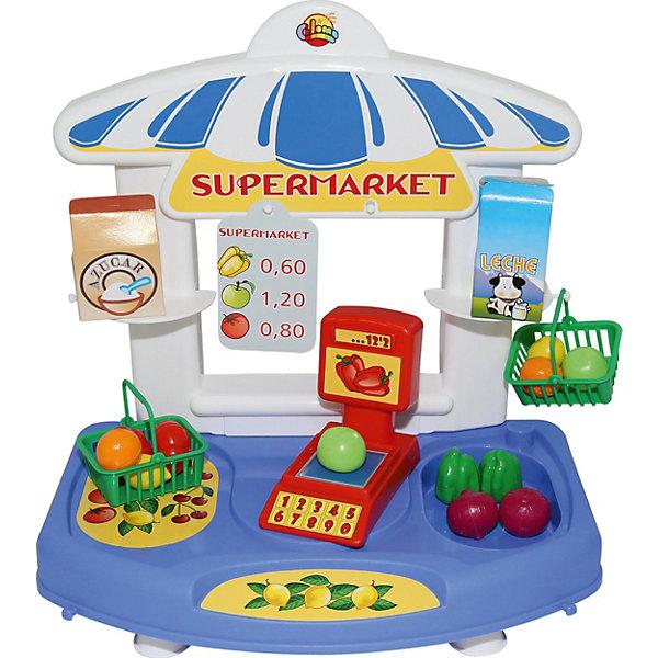 Мини-супермаркет Полесье Алеся, в пакетеДетский супермаркет<br>Характеристики:<br><br>• тип игрушки: набор;<br>• возраст: от 3 лет;<br>• материал: пластик;<br>• комплектация: прилавок, ценники, кассовый аппарат, корзина для продуктов - 2 шт, овощи, фрукты;<br>• цвет: голубой, белый;<br>• вес: 803 гр;<br>• размер: 40,5х36,5х12  см;<br>• страна бренда: Беларусь;<br>• бренд:  Полесье.<br><br>Набор-мини настольный Супермаркет «Алеся» (в пакете) Полесье представляет из себя пластмассовый лоток с различными элементами, необходимыми для игры в магазин. Лоток удобно поставить на стол или другую ровную поверхность. Яркая и занимательная игрушка. <br><br>Набор-мини настольный Супермаркет «Алеся» (в пакете) Полесье можно купить в нашем интернет-магазине.<br>Ширина мм: 405; Глубина мм: 365; Высота мм: 120; Вес г: 803; Возраст от месяцев: 36; Возраст до месяцев: 2147483647; Пол: Унисекс; Возраст: Детский; SKU: 7927382;