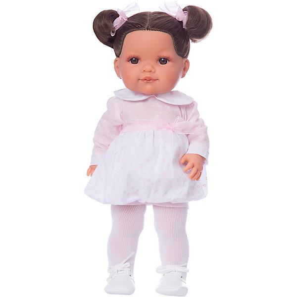 Кукла Munecas Antonio Juan Андреа, 38 смБренды кукол<br>Характеристики:<br><br>• тип игрушки: кукла;<br>• возраст: от 3 лет;<br>• материал: винил, текстиль;<br>• высота куклы: 38 см;<br>• вес: 1,25 кг;<br>• размер: 44х24х20 см;<br>• страна бренда: Испания;<br>• бренд: Juan Antonio Munecas.<br><br>Кукла Андреа, 38 см Juan Antonio Munecas станет прекрасным дополнением к игрушкам вашей девочки. Она выглядит точь-в-точь как настоящая маленькая девочка, у нее пухлые щеки, большие глаза, обрамленные пышными ресницами, курносый нос. Андреа одета в стильный наряд, а ее конечности подвижны, что позволяет менять ее положение тела.<br><br>Куколка имеет выразительные карие глазки, маленький носик и пухлые губки, а ее густые и шелковистые волосы темного оттенка приятно расчёсывать и собирать во всевозможные причёски. Наряд состоит из платья с юбкой-тюльпан и отложным воротничком, декорированного цветочным принтом и пояском на талии, колготок и ботиночек на шнурках. <br><br>Дополняют образ полупрозрачные ленточки из органзы, которые вплетены в прическу. Конечности Андреа могут двигаться, благодаря чему девочка сможет придавать ей различные игровые позы. Одежда игрушки выполнена из качественных натуральных тканей, при необходимости ее можно постирать.<br><br>Куклу Андреа 38 см Juan Antonio Munecas можно купить в нашем интернет-магазине.<br>Ширина мм: 440; Глубина мм: 2405; Высота мм: 120; Вес г: 1250; Цвет: розовый; Возраст от месяцев: 36; Возраст до месяцев: 2147483647; Пол: Женский; Возраст: Детский; SKU: 7931210;