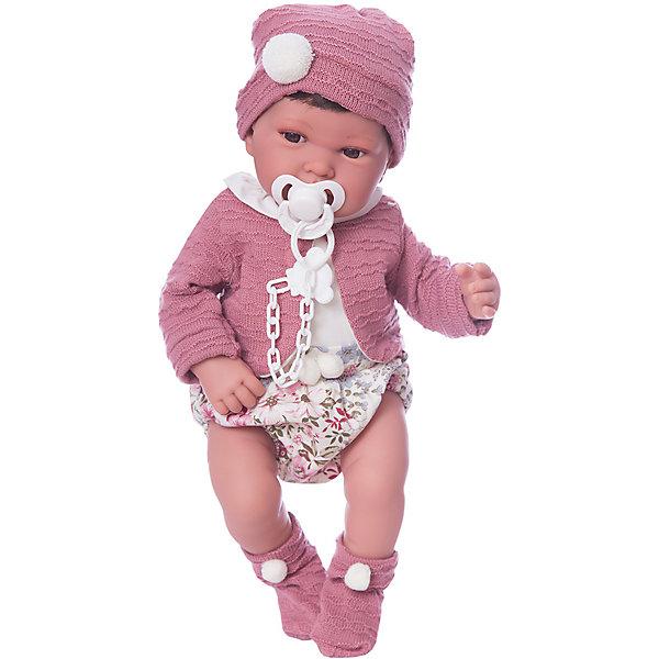 Кукла-пупс Munecas Antonio Juan Сэнди в розовом, 40 смКуклы<br>Характеристики:<br><br>• тип игрушки: кукла;<br>• возраст: от 3 лет;<br>• материал: винил, текстиль;<br>• высота куклы: 40 см;<br>• вес: 1,68 кг;<br>• размер: 46х16,5х31 см;<br>• страна бренда: Испания;<br>• бренд: Juan Antonio Munecas.<br><br>Кукла Сэнди в розовом, 40 см Juan Antonio Munecas, одетая в стильный наряд, выглядит настолько реалистично, что её можно принять за настоящую малышку, поэтому играть с ней в «дочки-матери» сплошное удовольствие.<br><br>Благодаря детальной проработке всех частей тела и «ювелирной» прорисовке лица, она очень похожа на настоящую малышку. Куколка имеет выразительные карие глазки, маленький носик и пухлые щечки, а ее шелковистые волосы можно расчесывать.- Сэнди одета в наряд сочетающий в себе белый и розовый цвета. Он состоит из комбинезончика, теплой вязаной кофточки с длинным рукавом, носочков и шапочки, украшенных помпонами.<br><br>Тело куклы мягконабивное, а ее руки, ноги и голова изготавливаются из мягкого, бархатистого на ощупь винила с добавлением силикона. Конечности Сэнди и могут двигаться, благодаря чему девочка сможет придавать ей различные игровые позы. Во рту куколка держит соску, которую можно прикрепить к ее одежде с помощью специальной соски- держателя.<br><br>Куклу Сэнди в розовом, 40 см Juan Antonio Munecas можно купить в нашем интернет-магазине.<br>Ширина мм: 165; Глубина мм: 310; Высота мм: 460; Вес г: 1680; Цвет: розовый; Возраст от месяцев: 36; Возраст до месяцев: 2147483647; Пол: Женский; Возраст: Детский; SKU: 7931224;