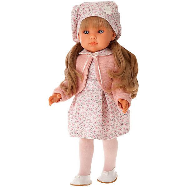 Кукла Munecas Antonio Juan Амалия в розовом, 45 смБренды кукол<br>Характеристики:<br><br>• тип игрушки: кукла;<br>• возраст: от 3 лет;<br>• материал: винил, текстиль;<br>• высота куклы: 45 см;<br>• вес: 1,5 кг;<br>• размер: 53х27,5х13,5 см;<br>• страна бренда: Испания;<br>• бренд: Juan Antonio Munecas.<br><br>Кукла Амалия в розовом, 45см Juan Antonio Munecas  похожа на настоящую девочку, что можно даже перепутать. Куколка имеет выразительные голубые глазки, маленький носик и пухлые губки, а ее густые и шелковистые волосы светлого оттенка, спускающиеся до уровня талии, приятно расчёсывать и собирать во всевозможные причёски.<br><br>Амалия одета в наряд, сочетающий в себе белый и нежно-розовый оттенки. Он состоит из платья, декорированного цветочным принтом, колготок, туфелек и берета, украшенного ромашкой. Тело куклы, ее руки, ноги и голова изготавливаются из мягкого, бархатистого на ощупь винила с добавлением силикона. Конечности Амалии могут двигаться, благодаря чему девочка сможет придавать ей различные игровые позы.<br><br>Куклу Амалию в розовом, 45см Juan Antonio Munecas можно купить в нашем интернет-магазине.<br>Ширина мм: 530; Глубина мм: 275; Высота мм: 135; Вес г: 1550; Цвет: розовый; Возраст от месяцев: 36; Возраст до месяцев: 2147483647; Пол: Женский; Возраст: Детский; SKU: 7931240;