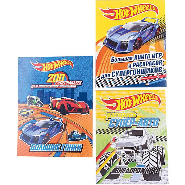 Игры и раскраски с наклейками Hot Wheels, комплект из 3-х книгКнижки с наклейками<br>Характеристики:<br><br>• тип игрушки: книга;<br>• возраст: от 6 лет;<br>• материал: бумага;<br>• ISBN: 978-5-699-94581-8;<br>• количество страниц: 104;<br>• переплет: мягкий;<br>• вес: 380 гр;<br>• размер: 28х21х1,5 см;<br>• издательство: Эксмо.<br><br>Книга «Игры и раскраски с наклейками» Mattel. HOT WHEELS (комплект из 3-х книг) содержит три отличные книги для всех любителей машинок: раскраска Мотоциклы, книга головоломок и раскрасок Скорость без границ и книга На старт, внимание, поехали!, в которой юный гонщик найдет целых 200 наклеек со своими любимыми машинками. В книгах вас ждут стильные гоночные автомобили HOT WHEELS, головокружительные игры, яркие раскраски и 200 супернаклеек, которых хватит и на выполнение красочных заданий, и на то, чтобы украсить ими все, что угодно!<br><br>Книгу «Игры и раскраски с наклейками» Mattel. HOT WHEELS (комплект из 3-х книг) можно купить в нашем интернет-магазине.<br>Ширина мм: 280; Глубина мм: 210; Высота мм: 15; Вес г: 38; Возраст от месяцев: 72; Возраст до месяцев: 144; Пол: Мужской; Возраст: Детский; SKU: 7932203;