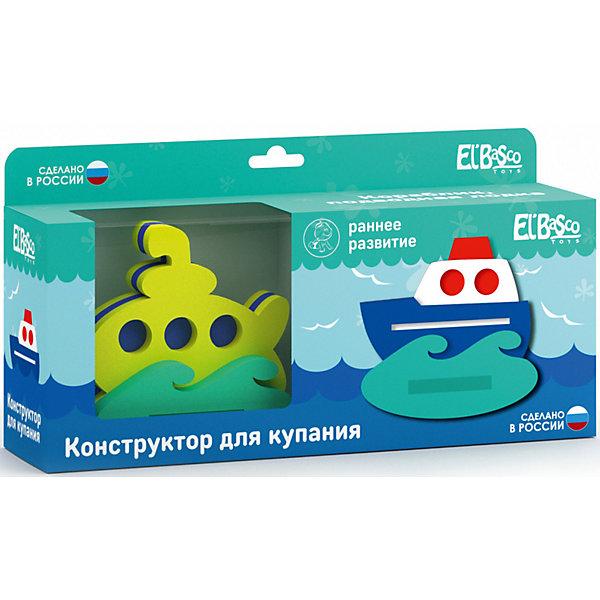 Конструктор для купания El`Basco Toys Кораблик и подводная лодка, 14 деталейКонструкторы для малышей<br>Характеристики:<br><br>• тип игрушки: конструктор;<br>• возраст: от 3 лет;<br>• материал: ЭВА;<br>• комплектация: 14 дет.;<br>• цвет: желтый, зеленый, синий;<br>• вес: 175 гр;<br>• размер: 12,5х30х8 см;<br>• страна бренда: Россия;<br>• бренд: EL BASCO.<br><br>Конструктор «Кораблик+Подводная лодка» сделает купание ребенка приятной и интересной процедурой.  Изделие выполнено из вспененного полимера, который не тонет в воде и быстро высыхает.  Конструкторы состоят из крупных деталей, которые без труда соединяются друг с другом. С этой задачей справятся даже самые юные крохи. <br><br>Игрушки имеют яркую расцветку и непременно понравятся вашему малышу.  В процессе игры у ребёнка развиваются координация движения рук, воображение, тактильное восприятие, мелкая моторика и внимание. Поход в ванную с малышом станет забавным развлечением, ведь игрушки из мягкого полимера при смачивании можно приклеить друг к другу или на гладкую поверхность (плитку или зеркало).<br><br>Конструктор «Кораблик+Подводная лодка» можно купить в нашем интернет-магазине.<br>Ширина мм: 125; Глубина мм: 300; Высота мм: 80; Вес г: 175; Возраст от месяцев: 36; Возраст до месяцев: 2147483647; Пол: Унисекс; Возраст: Детский; SKU: 7932397;