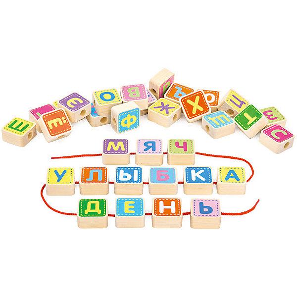 Шнуровка Alatoys Азбука, 33 деталиДеревянные игрушки<br>Характеристики:<br><br>• тип игрушки: шнуровка;<br>• возраст: от 3 лет;<br>• материал: дерево, текстиль;<br>• комплектация: 33 кубика с буквами русского алфавита, 4 шнурка;<br>• вес: 1 кг;<br>• размер: 28х27х3,5 см;<br>• страна бренда: Россия;<br>• бренд: ALATOYS .<br><br>Шнуровка  «Азбука» ALATOYS отлично подойдет для маленьких детей. С данным набором можно провести время не только с интересом, но и с большой пользой.<br><br>Конструктор предоставляет детям возможность нанизывать буквы алфавита, выполненные из дерева, на специальные шнуровки, которые входят в комплект. Таким образом, ребята смогут познакомиться с азбукой и выучить буквы, кроме того, такое времяпрепровождение будет способствовать тренировке мелкой моторики ручек и концентрации внимания детей.<br><br>Шнуровку «Азбука» ALATOYS можно купить в нашем интернет-магазине.<br>Ширина мм: 270; Глубина мм: 280; Высота мм: 35; Вес г: 1000; Возраст от месяцев: -2147483648; Возраст до месяцев: 2147483647; Пол: Унисекс; Возраст: Детский; SKU: 7932425;