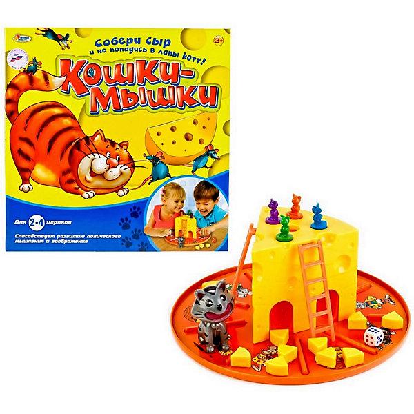 Настольная игра Играем вместе Кошки-мышкиНастольные игры для всей семьи<br>Характеристики товара:<br><br>• возраст: от 3 лет;<br>• материал: пластик, картон;<br>• в комплекте: фишки-мышата, фигурка кота, кусочки сыра, игровое поле, дополнительные элементы;<br>• количество игроков: 2-4;<br>• размер упаковки: 27х27х12 см;<br>• вес упаковки: 630 гр.<br><br>Настольная игра Играем вместе «Кошки-мышки» - увлекательная детская игра. Для начала на подставку устанавливается большой кусок сыра, к нему приставляются лестницы со всех сторон. Отдельно на подставке раскладываются маленькие кусочки сыра и ставится фигурка котика. <br><br>Каждый игрок берет себе фигурку мышонка, все они устанавливаются сверху на большой кусок сыра. Затем участник опускается своего мышонка в отверстие в сыре. Сектор, куда он попадет, будет стартовой позицией. Задача в игре — спасти как можно больше сыра от кота.<br><br>Настольную игру Играем вместе «Кошки-мышки» можно приобрести в нашем интернет-магазине.<br>Ширина мм: 270; Глубина мм: 120; Высота мм: 270; Вес г: 630; Возраст от месяцев: 36; Возраст до месяцев: 120; Пол: Унисекс; Возраст: Детский; SKU: 7934558;