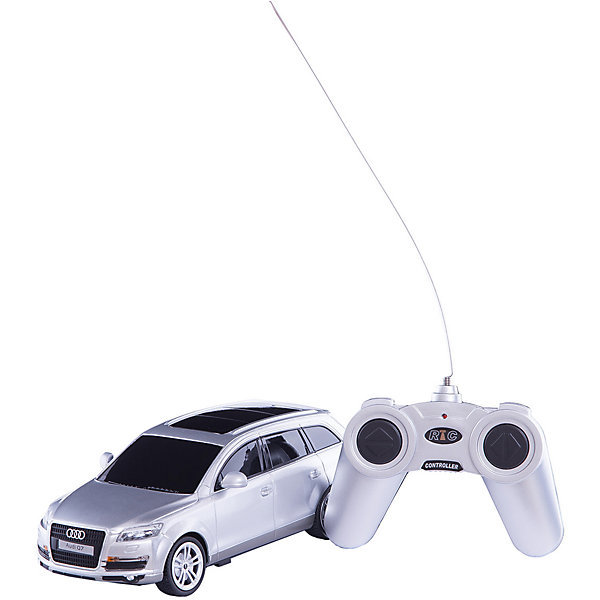 Радиоуправляемая машинка Rastar Audi Q7 1:24, сераяРадиоуправляемые машины<br>Характеристики:<br><br>• возраст: от 3 лет:<br>• материал: металл, пластик;<br>• масштаб: 1:24;<br>• максимальная скорость: 7км/ч;<br>• в комплекте: машина, пульт управления;<br>• тип батареек: 5 батареек АА;<br>• наличие батареек: нет в комплекте;<br>• вес упаковки: 470 гр.;<br>• размер упаковки: 28,5х14х12 см;<br>• страна производитель: Китай.<br><br>Радиоуправляемая машинка Rastar Audi Q7 точная копия оригинала. Управление игрушкой осуществляется с помощью удобного пульта, который позволяет ездить ей во все стороны. Корпус машины выполнен из легкого металла с пластиковыми элементами. Крепление частей — винтами.<br><br>Мощные колеса и амортизация приспособлены к езде не только по ровной поверхности дома, но и на улице по асфальту и бугристой дороге, бросая вызов всем препятствиям. Мини автомобиль понравится и детям, и взрослым, особенно тем, кто коллекционирует подобные экземпляры или обладает настоящим Audi Q7.<br><br>Радиоуправляемую машинку Rastar Audi Q7, 1:24 серую можно купить в нашем интернет-магазине.<br>Ширина мм: 285; Глубина мм: 140; Высота мм: 120; Вес г: 470; Возраст от месяцев: 36; Возраст до месяцев: 180; Пол: Унисекс; Возраст: Детский; SKU: 7934705;