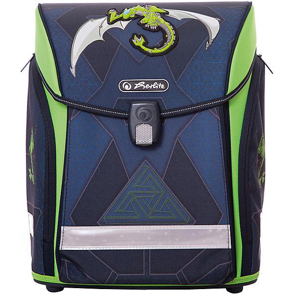 Ранец Herlitz Midi New Green Robo Dragon, без наполненияРанцы без наполнения<br>Характеристики:<br><br>• эргономичная спинка;<br>• уплотненные регулируемые лямки из вентилируемого материала;<br>• внутри ранца имеется 2 отделения с карманом для учебников;<br>• 1 внутренний карман на молнии;<br>• интегрированный передний карман в корпус ранца;<br>• боковые карманы на молнии;<br>• расписание уроков;<br>• дно из жесткого пластика;<br>• новый магнитный замок Fidlock;<br>• светоотражающие элементы и светоотражающий кант;<br>• материал: полиэстер, водоотталкивающая ткань, вентилируемый материал;<br>• оформление: драконы;<br>• размер: 38х32х26 см;<br>• вес: 900 г.<br><br>Школьный ранец для учеников 1-4 классов имеет жесткое дно для устойчивости, клапан на магнитном замке, вместительные внутренние отделения и дополнительные карманы. Ранец с эргономичной спинкой равномерно распределят нагрузку на позвоночник. Длину уплотненных лямок можно отрегулировать, приспосабливая ранец к условиям внешней среды: ранец удобно носить и на зимнюю куртку и на легкую рубашку.  Ранец для мальчиков выполнен в сине-зеленом цвете, декорирован принтом с изображением драконов.<br><br>Ранец Herlitz Midi New Green Robo Dragon, без наполнения можно купить в нашем интернет-магазине.<br>Ширина мм: 260; Глубина мм: 320; Высота мм: 380; Вес г: 1100; Цвет: синий; Возраст от месяцев: 72; Возраст до месяцев: 2147483647; Пол: Мужской; Возраст: Детский; SKU: 7936509;