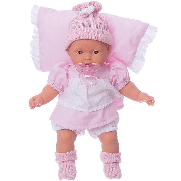 Кукла Ланита на розовой подушк, 27 см, Munecas Antonio JuanКуклы<br>Характеристики:<br><br>• возраст: от 3 лет;<br>• материал: винил, текстиль;<br>• высота куклы: 27 см;<br>• в наборе: кукла, подушка, соска;<br>• тип батареек: 3хLR44 1,5 V;<br>• наличие батареек: в комплекте;<br>• вес упаковки: 650 гр.;<br>• размер упаковки: 59х29х14,5 см;<br>• страна бренда: Испания;<br>• подарочная упаковка.<br><br>Кукла «Ланита» Munecas Antonio Juan выглядит как настоящий младенец. При ее разработке учитывались все анатомические особенности строения тела малышей.<br><br>Ланита будет всегда в хорошем настроении, если у нее не забирать соску. В противном случае кукла заплачет. Ручки, ножки и голова подвижны, сделаны из винила. Тельце игрушки набито мягким наполнителем, от этого кукла очень приятна на ощупь.<br><br>Кукла выполнена из качественных гипоаллергенных материалов, устойчива к механическим воздействиям. При загрязнении игрушку можно протереть салфеткой с мыльным раствором.<br><br>Куклу «Ланита» на розовой подушке, 27 см, Munecas Antonio Juan можно купить в нашем интернет-магазине.<br>Ширина мм: 590; Глубина мм: 290; Высота мм: 145; Вес г: 650; Цвет: розовый; Возраст от месяцев: 36; Возраст до месяцев: 2147483647; Пол: Женский; Возраст: Детский; SKU: 7936889;