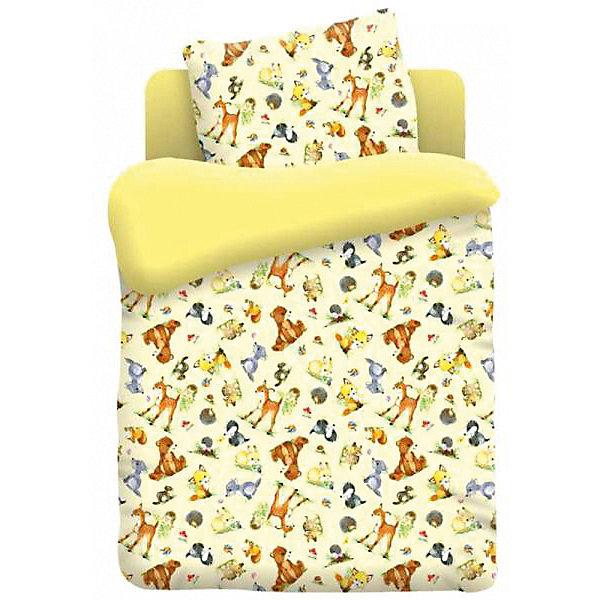 Купить Детское постельное белье 3 предмета Непоседа, Лесные обитатели (простыня на резинке), Россия, разноцветный, Унисекс