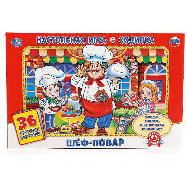 Настольная игра-ходилка Умка Шеф-повар , 36 карточекНастольные игры ходилки<br>Характеристики:<br><br>• возраст: от 3 лет;<br>• количество игроков: 2-4;<br>• в наборе: игровое поле, 4 фишки, 36 карточек, кубик, правила игры;<br>• вес упаковки: 300 гр.;<br>• размер упаковки: 21х3х33 см;<br>• страна бренда: Россия.<br><br>В настольной игре-ходилке Умка «Шеф-повар» малышам предстоит пройти увлекательный путь в мире гастрономии. Победит тот, кто быстрее других доберется до финиша.<br><br>В процессе игры дети учатся считать и развивают коммуникативные навыки. Яркие картинки и динамичность игры делают ее актуальной для ребенка на долгое время. <br><br>Настольную игру-ходилку Умка «Шеф-повар», 36 карточек можно купить в нашем интернет-магазине.<br>Ширина мм: 210; Глубина мм: 30; Высота мм: 330; Вес г: 3000; Цвет: красный/белый; Возраст от месяцев: 36; Возраст до месяцев: 60; Пол: Унисекс; Возраст: Детский; SKU: 7941127;