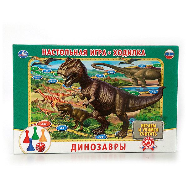 Настольная игра-ходилка Умка  ДинозаврыНастольные игры ходилки<br>Характеристики:<br><br>• возраст: от 3 лет;<br>• количество игроков: 1-4;<br>• в наборе: игровое поле, 4 фишки, кубик;<br>• вес упаковки: 300 гр.;<br>• размер упаковки: 21х3х33 см;<br>• страна бренда: Россия.<br><br>В настольной игре-ходилке Умка «Динозавры» малышам предстоит пройти увлекательный путь в мире юрского периода. Победит тот, кто быстрее других доберется до финиша.<br><br>В процессе игры дети учатся считать, развивают коммуникативные навыки, изучают названия динозавров. Яркие картинки и динамичность игры делают ее актуальной для ребенка на долгое время. <br><br>Настольную игру-ходилку Умка «Динозавры» можно купить в нашем интернет-магазине.<br>Ширина мм: 210; Глубина мм: 30; Высота мм: 330; Вес г: 3000; Цвет: зеленый; Возраст от месяцев: 36; Возраст до месяцев: 60; Пол: Унисекс; Возраст: Детский; SKU: 7941131;
