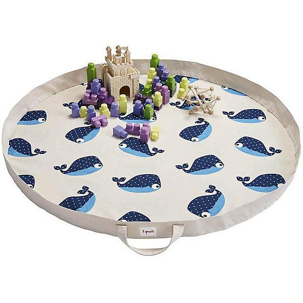 Игровой коврик-сумка 3 Sprouts Синий кит (Blue Whale SPR1303). Арт. 00049Детские ковры<br>Характеристики:<br><br>• возраст: от 3 месяцев;<br>• материал: 100% хлопок;<br>• диаметр в разложенном виде: 112 см;<br>• вес упаковки: 750 гр.;<br>• размер упаковки: 37х30х5 см;<br>• страна бренда: Канада.<br><br>Коврик-сумка 3 Sprouts «Синий кит» – простое и надежное решение для хранения игрушек и организации игровой зоны. Плотная хлопковая сумка легко трансформируется в круглый коврик с красочными принтами на поверхности.<br><br>Широкий бортик не даст мелким элементам игрушек потеряться. Когда игры закончатся, коврик легко собирается в сумку, которую можно хранить дома или взять с собой в гости.<br><br>Изделие выполнено из полностью безопасных и гипоаллергенных материалов, устойчиво к механическому воздействию. Внутреннюю часть коврика можно протирать антисептическими салфетками.<br><br>Игровой коврик-сумку 3 Sprouts «Синий кит» можно купить в нашем интернет-магазине.<br>Ширина мм: 37; Глубина мм: 30; Высота мм: 5; Вес г: 750; Цвет: синий; Возраст от месяцев: 3; Возраст до месяцев: 144; Пол: Унисекс; Возраст: Детский; SKU: 7943061;