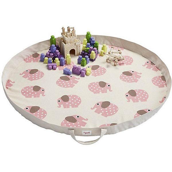 Игровой коврик-сумка 3 Sprouts Розовый слоник (Pink Elephant SPR1301). Арт. 00048
