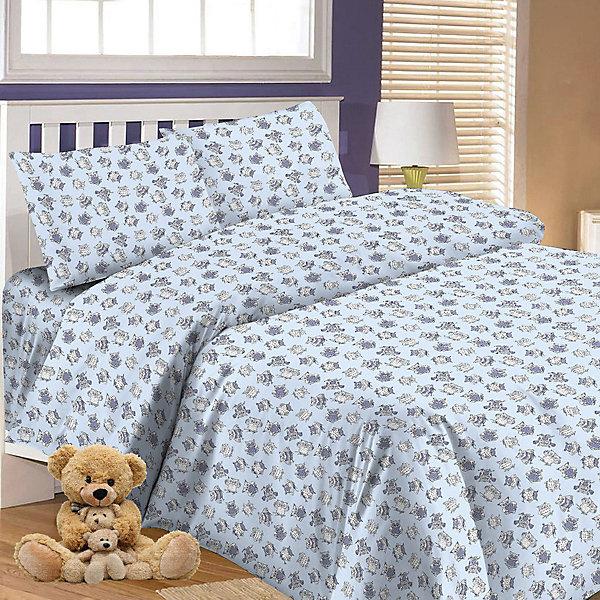 Купить Детское постельное белье 3 предмета Letto, простыня на резинке, BGR-65, Россия, синий, Унисекс