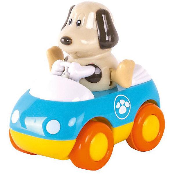Зверушки на колесиках HAP-P-KID СобачкаМашинки<br>Характеристики:<br><br>• возраст: от 1 года<br>• длина машинки: 9 см.<br>• вес машинки: 164 гр.<br>• материал: пластик<br><br>Забавная игрушка «Собачка» из серии «Зверушки на колесах» разнообразит игры малыша. Ребенок с радостью сможет наблюдать за движениями машинки и забавной собачки.<br><br>Машинка оснащена инерционным механизмом, благодаря которому может ездить самостоятельно, для чего ее нужно хорошенько откатить назад и отпустить. У машинки широкие колеса, она быстро набирает скорость при езде и ей не страшны препятствия на пути. Собачка во время движения весело шевелит ножками. Чем выше скорость автомобиля, тем быстрее двигаются ножки.<br><br>Игрушка выполнена из сертифицированного, ударопрочного пластика, который окрашен высококачественными, стойкими красителями. Не имеет острых углов или зазубрин.<br><br>Зверушку на колесиках HAP-P-KID Собачка можно купить в нашем интернет-магазине.<br>Ширина мм: 140; Глубина мм: 70; Высота мм: 210; Вес г: 164; Возраст от месяцев: 12; Возраст до месяцев: 36; Пол: Унисекс; Возраст: Детский; SKU: 7958316;