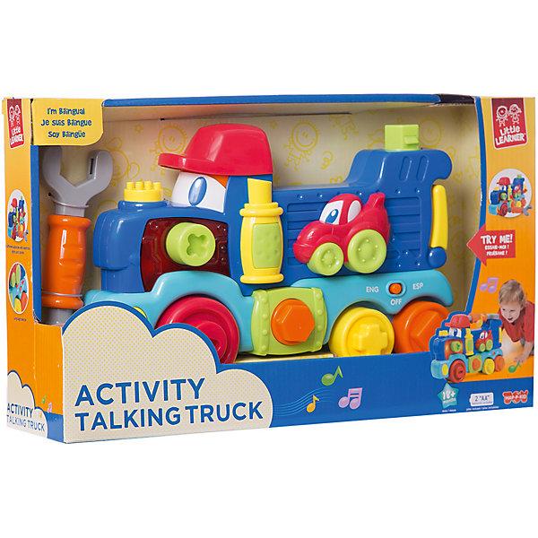 Передвижной Говорящий Грузовик HAP-P-KIDИнтерактивные игрушки для малышей<br>Характеристики:<br><br>• возраст: от 1,5 лет<br>• в наборе: грузовик, гаечный ключ-отвертка<br>• материал: пластик<br>• батарейки: 2 типа АА<br>• наличие батареек: входят в комплект<br>• упаковка: картонная коробка открытого типа<br>• размер упаковки: 36,8х9,2х22,2 см.<br>• вес: 898 гр.<br><br>Передвижной говорящий грузовик – развивающая игрушка с разноцветными фигурками, световыми индикаторами и звуковым модулем.<br><br>Грузовик выполнен в яркой цветовой гамме. На игрушке есть много разноцветных фигур, которые можно вращать, нажимать на них и снимать, а также с помощью инструмента, входящего в комплект, прикручивать и откручивать разные элементы. Грузовик оснащен специальным модулем, который позволяет воспроизвести более 9 разных звуков на английском и французском языках, и реагировать световыми индикаторами на каждое действие ребенка.<br><br>Набор изготовлен из качественного, гипоаллергенного пластика, который полностью безопасен в использовании и окрашен особыми нетоксичными красителями.<br><br>Занятия с игрушкой развивают воображение, моторику, координацию движений, цветовосприятие, помогают познавать мир.<br><br>Передвижной Говорящий Грузовик HAP-P-KID (ХЭП-П-КИД) можно купить в нашем интернет-магазине.<br>Ширина мм: 386; Глубина мм: 92; Высота мм: 222; Вес г: 898; Возраст от месяцев: 12; Возраст до месяцев: 36; Пол: Унисекс; Возраст: Детский; SKU: 7958338;