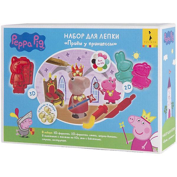 Набор для лепки Росмэн Свинка Пеппа Прием у Принцессы, 16 предметовНаборы для лепки игровые<br>Характеристики:<br><br>• тип игрушки: набор;<br>• возраст: от 3 лет;<br>• материал: пластик;<br>• комплектация: 3D-формочка Пеппы, две 2D-формочки (Сьюзи и Ребекка), 8 пакетиков цветного теста для лепки по 60 г, стека, шприц-давилка, гель с блестками, набор страз, цветная инструкция (А4);<br>• вес: 600 гр;<br>• размер: 24,5х17х6 см;<br>• издательство: Росмэн.<br><br>Набор для лепки Росмэн «Свинка Пеппа» Прием у Принцессы, 16 подойдет для детей от 3 лет.  С помощью 3D и 2D-формочек создавайте детализированные фигурки Пеппы, Сьюзи и Ребекки. Лепите трон, волшебную палочку, украшайте фигурки гелем с блёстками и стразами. Смешивайте цвета, экспериментируйте! А подробная инструкция вам поможет создать красивые, разноцветные поделки. Затем оставьте фигурки на воздухе, и они застынут, превратясь в настоящие игрушки! Лепка тренирует мелкую моторику и творческие навыки, развивает воображение, восприятие цвета, формы, фактуры, объема.<br><br>Набор для лепки Росмэн «Свинка Пеппа» Прием у Принцессы, 16 предметов  можно купить в нашем интернет-магазине.<br>Ширина мм: 245; Глубина мм: 170; Высота мм: 60; Вес г: 600; Цвет: разноцветный; Возраст от месяцев: 36; Возраст до месяцев: 120; Пол: Унисекс; Возраст: Детский; SKU: 7959816;