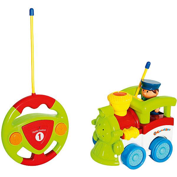 Радиоуправляемая игрушка Жирафики Паровозик, 2 канала, свет, музыкаИнтерактивные игрушки для малышей<br>Характеристики:<br><br>• возраст: 1+;<br>• материал: пластик;<br>• размер игрушки: 14х9х12 см;<br>• высота фигурки машиниста: 7 см;<br>• элементы питания: работает от 5-ти батареек АА 1,5 V (в комплект не входят);<br>• вес: 670 г.<br><br>Этот милый паровозик очень прост в управлении. Игрушка порадует даже самых маленьких мальчиков и девочек. На пульте управления игрушки всего две кнопки, что дает возможность управлять игрушкой без помощи родителей.<br><br>Чтобы путешествие паровозика было еще интереснее, малыш может нажать на фигурку машиниста или на трубу – заиграет весёлая музыка, и кроха услышит забавные звуки. Также игра будет сопровождаться световыми эффектами. Паровозик умеет ездить вперёд и разворачиваться назад. <br><br>Пульт управления сделан в форме руля, который выглядит очень реалистично. <br><br>Радиоуправляемую игрушку «Паровозик» (2 канала, свет, музыка), «Жирафики» можно приобрести в нашем интернет-магазине.<br>Ширина мм: 290; Глубина мм: 115; Высота мм: 170; Вес г: 670; Возраст от месяцев: 12; Возраст до месяцев: 2147483647; Пол: Унисекс; Возраст: Детский; SKU: 7959905;