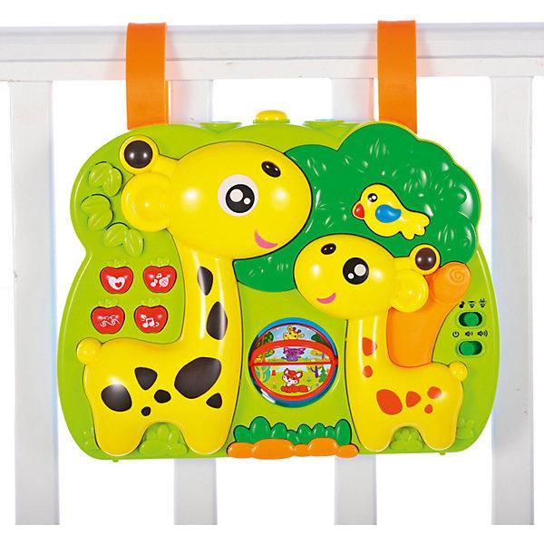 Мультифункциональный игровой центр на кроватку Жирафики с музыкой, светом, проектором, 3 режимаРазвивающие центры<br>Характеристики:<br><br>• возраст: 0+;<br>• материал: пластик;<br>• размер игрушки: 17х22х4 см;<br>• элементы питания: работает от 4-х батареек АА 1,5 V (в комплект не входят);<br>• вес: 582 г.<br><br>С помощью специальных креплений игрушку можно подвесить на кроватку. <br><br>Центр работает в трех режимах:<br><br>• в первом режиме малыш может нажимать на разные кнопочки, включая музыку и звуки природы; может покрутить мельницу пальчиками, рассматривая разные картинки на ее лопастях (в этом режиме птичка и жирафики светятся);<br>• во втором режиме — режиме проектора — малыш сможет наблюдать на потолке за меняющимися картинками (для использования игрушки в этом режиме свет в комнате нужно приглушить);<br>• третий режим совмещает звуковые и световые эффекты и проектор (малыш может любоваться картинками под спокойную музыку и сладко засыпать).<br><br> У игрушки есть два уровня громкости (для активного бодрствования и перед сном).<br><br>Мультифункциональный игровой центр на кроватку «Жирафики» (с музыкой, светом, проектором, 3 режима), «Жирафики» можно приобрести в нашем интернет-магазине.<br>Ширина мм: 250; Глубина мм: 75; Высота мм: 190; Вес г: 600; Возраст от месяцев: -2147483648; Возраст до месяцев: 2147483647; Пол: Унисекс; Возраст: Детский; SKU: 7959911;