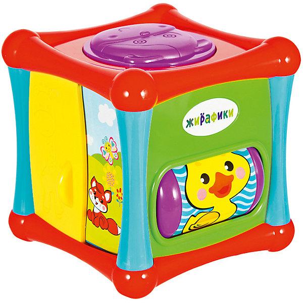 Развивающая игрушка Жирафики КубикРазвивающие центры<br>Характеристики:<br><br>• возраст: от 9 месяцев;<br>• материал: пластик;<br>• размер игрушки: 11,5х11,5х11,5 см;<br>• вес: 420 г.<br><br>Развивающая игрушка сочетает в себе сразу 5 интересных игр, расположенных с разных сторон мягкого кубика.<br><br>Виды игр:<br><br>• пищалка в форме мордочки жирафика;<br>• безопасное зеркало;<br>• барабан с весёлой погремушкой и красочными изображениями зверей;<br>• дверка с силуэтом жирафика, которую можно передвигать пальцами в разные стороны;<br>• лифт можно крутить и передвигать вверх-вниз. <br><br>Необычная игрушка способствует развитию мелкой моторики рук, координации движений, способности концентрировать внимание, а также логики и смекалки. <br><br>Игрушка изготовлена из гипоаллергенного пластика. <br><br>Развивающую игрушку «Кубик», «Жирафики» можно приобрести в нашем интернет-магазине.<br>Ширина мм: 140; Глубина мм: 120; Высота мм: 150; Вес г: 420; Возраст от месяцев: -2147483648; Возраст до месяцев: 2147483647; Пол: Унисекс; Возраст: Детский; SKU: 7959913;