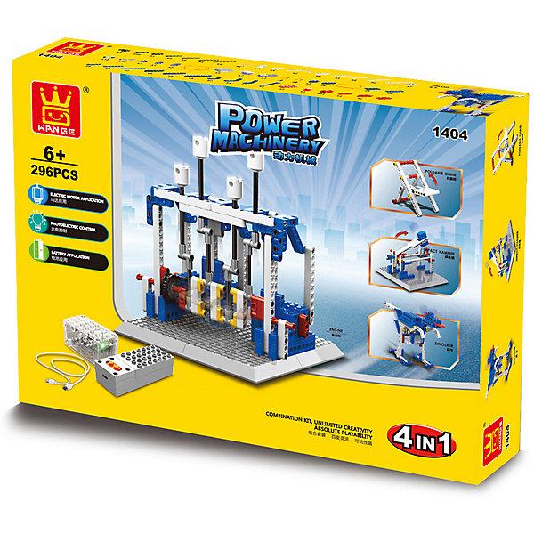 Электромеханический конструктор Wange Двигатель, 296 деталейРобототехника и электроника<br>Характеристики товара:<br><br>• возраст: от 6 лет;<br>• материал: пластик;<br>• количество деталей: 296;<br>• тип питания: батарейки типа АА (не входят в комплект);<br>• размер упаковки: 40х7х30 см;<br>• вес упаковки: 1600 гр.;<br>• страна бренда: Китай.<br><br>Электромеханический конструктор Wange Двигатель - это потрясающий электромеханический детский конструктор, состоящий из 292 деталей, из которых мальчик сможет собрать 4 различных модели. Каждой собранной конструкцией ребенок сможет управлять при помощи проводного пульта, который входит в комплект. <br>Все детали конструктора отлично крепятся друг к другу, поэтому готовые модели не развалятся во время игры.<br><br>Игры с конструктором развивают логическое и пространственное мышление юного конструктора. Он учится работать по схеме. Данное умение, доведенное до высокого уровня, положительно сказывается на успешности ребенка во время обучения в школе. Мелкие детали помогают усовершенствовать моторику и координацию рук. Самостоятельные занятия и составление оригинальных моделей улучшает фантазию, воображение и интеллект в целом. <br><br>Электромеханический конструктор Wange Двигатель можно купить в нашем интернет-магазине.<br>Ширина мм: 400; Глубина мм: 70; Высота мм: 300; Вес г: 950; Цвет: разноцветный; Возраст от месяцев: 72; Возраст до месяцев: 2147483647; Пол: Унисекс; Возраст: Детский; SKU: 7959921;