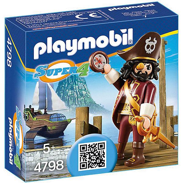 Конструктор Playmobil Супер 4 Акулья бородаПластмассовые конструкторы<br>Характеристики товара:<br><br>• возраст: от 5 лет;<br>• материал: пластик;<br>• в комплекте: фигурка пирата, компас, меч;<br>• размер упаковки: 9,3х3,3х3,3 см;<br>• вес упаковки: 47 гр.;<br>• страна бренда: Германия.<br><br>Игровой набор «Супер 4: Акулья борода» Playmobil создан по мотивам известного мультсериала «Суперчетверка». Набор включает в себя фигурку отчаянного пирата, героя мульфильма, Акулья борода. У пирата подвижные руки и ноги, поворачивается голова, в руках он держит компас и шпагу для сражений с врагами.<br><br>Наборы из серии «Суперчетверка» сочетаются между собой, что позволит создавать свои собственные сценки и наборы.<br><br>Игровой набор «Супер 4: Акулья борода» Playmobil можно приобрести в нашем интернет-магазине.<br>Ширина мм: 93; Глубина мм: 33; Высота мм: 93; Вес г: 47; Возраст от месяцев: 60; Возраст до месяцев: 84; Пол: Мужской; Возраст: Детский; SKU: 7965979;