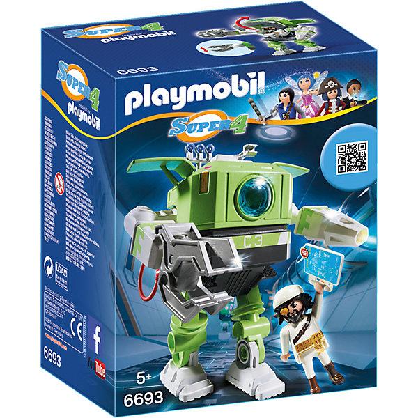 Конструктор Playmobil Супер 4 Робот КлеаноПластмассовые конструкторы<br>Характеристики товара:<br><br>• возраст: от 5 лет;<br>• материал: пластик;<br>• в комплекте: фигурка пирата, робот, аксессуары;<br>• размер упаковки: 18,7х14,2х9,5 см;<br>• вес упаковки: 329 гр.;<br>• страна бренда: Германия.<br><br>Игровой набор «Супер 4: Робот Клеано» Playmobil создан по мотивам известного мультсериала «Суперчетверка». Набор включает в себя фигурку пирата Акулья Борода с раздвижным телескопом глазом и робота Клеано, который используется для проведения опасных разведывательных миссий. Робот имеет подвижные руки и ноги и оснащен щупальцем и вращающимся инжектором. <br><br>Игровой набор «Супер 4: Робот Клеано» Playmobil можно приобрести в нашем интернет-магазине.<br>Ширина мм: 142; Глубина мм: 95; Высота мм: 187; Вес г: 329; Возраст от месяцев: 60; Возраст до месяцев: 84; Пол: Мужской; Возраст: Детский; SKU: 7965983;