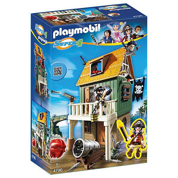 Конструктор Playmobil Супер 4 Замаскированный Пиратский Форт с РубиПластмассовые конструкторы<br>Характеристики товара:<br><br>• возраст: от 5 лет;<br>• материал: пластик;<br>• в комплекте: 2 фигурки, домик, аксессуары;<br>• размер упаковки: 38,5х24,8х12,5 см;<br>• вес упаковки: 936 гр.;<br>• страна бренда: Германия.<br><br>Игровой набор «Супер 4: Замаскированный пиратский форт с Руби» Playmobil создан по мотивам известного мультсериала «Суперчетверка». Набор включает в себя фигурку главной героини Руби Рэд. У фигурки подвижные ручки и ноги, а в руки можно вставлять разнообразные аксессуары. Форт, где находятся пираты, выглядит как обычный домик, но на самом деле там у них спрятано оружие. Внизу и на балконе стоят пушки, которые поворачиваются в разные стороны и стреляют снарядами.<br><br>Наборы из серии «Суперчетверка» сочетаются между собой, что позволит создавать свои собственные сценки и наборы.<br><br>Игровой набор «Супер 4: Замаскированный пиратский форт с Руби» Playmobil можно приобрести в нашем интернет-магазине.<br>Ширина мм: 248; Глубина мм: 125; Высота мм: 385; Вес г: 936; Возраст от месяцев: 60; Возраст до месяцев: 84; Пол: Мужской; Возраст: Детский; SKU: 7965989;