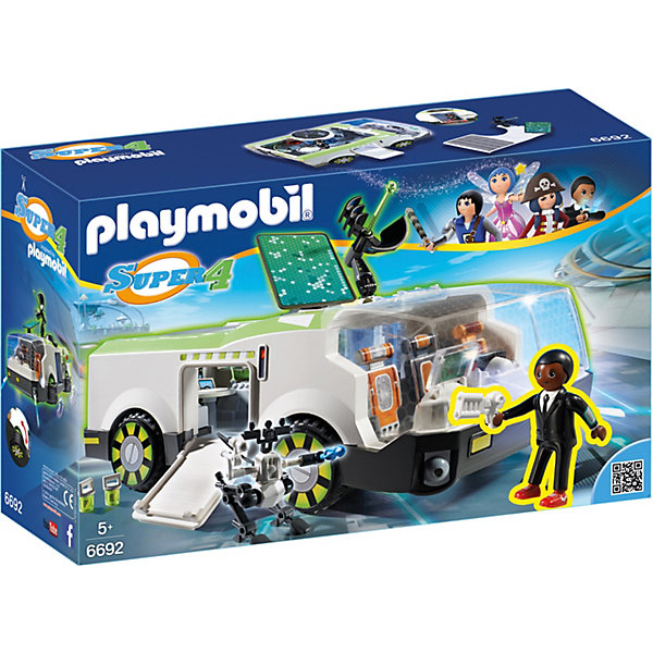 Конструктор Playmobil Супер 4 Техно Хамелеон с ДжиномПластмассовые конструкторы<br>Характеристики товара:<br><br>• возраст: от 5 лет;<br>• материал: пластик;<br>• в комплекте: фигурка, машина, аксессуары;<br>• размер упаковки: 38,5х24,8х12,5 см;<br>• вес упаковки: 1,185 кг;<br>• страна бренда: Германия.<br><br>Игровой набор «Супер 4: Техно Хамелеон с Джином» Playmobil создан по мотивам известного мультсериала «Суперчетверка». Набор включает в себя фигурку агента Джина и необычный автомобиль Техно Хамелеон, созданный по последнему слову техники. Хамелеон может быть преобразован в режим полета стягиванием 4-х колес. Лобовое стекло открывается, внутрь кабины можно посадить фигурок. Внутри кабины 3 поворотных сидения. Кроме этого попасть на корабль можно через боковой люк или секретный вход. На борту установлена пушка, стреляющая снарядами. У фигурки подвижные детали, а дисплей на руке светится в темноте.<br><br>Игровой набор «Супер 4: Техно Хамелеон с Джином» Playmobil можно приобрести в нашем интернет-магазине.<br>Ширина мм: 385; Глубина мм: 125; Высота мм: 248; Вес г: 1185; Возраст от месяцев: 60; Возраст до месяцев: 84; Пол: Мужской; Возраст: Детский; SKU: 7965993;