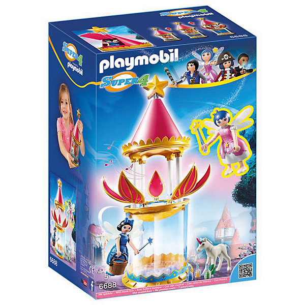 Конструктор Playmobil Супер 4 Музыкальная Цветочная Башня с ТвинклПластмассовые конструкторы<br>Характеристики товара:<br><br>• возраст: от 5 лет;<br>• материал: пластик;<br>• в комплекте: 3 фигурки, башня, аксессуары;<br>• размер упаковки: 24,8х38,5х17,5 см;<br>• вес упаковки: 1,066 кг;<br>• страна бренда: Германия.<br><br>Игровой набор «Супер 4: Музыкальная цветочная башня с Твинкл» Playmobil создан по мотивам известного мультсериала «Суперчетверка». Набор включает в себя очаровательных фей Твинкл и Доннелу. У сказочных фей съемные юбки и крылья, а в руках волшебные палочки. Оригинальная деталь данного набора — цветочная башня. Если открыть лепестки и поместить туда фигурку феи, то она будет танцевать под музыку. <br><br>Игровой набор «Супер 4: Музыкальная цветочная башня с Твинкл» Playmobil можно приобрести в нашем интернет-магазине.<br>Ширина мм: 248; Глубина мм: 175; Высота мм: 385; Вес г: 1066; Возраст от месяцев: 60; Возраст до месяцев: 84; Пол: Женский; Возраст: Детский; SKU: 7966001;