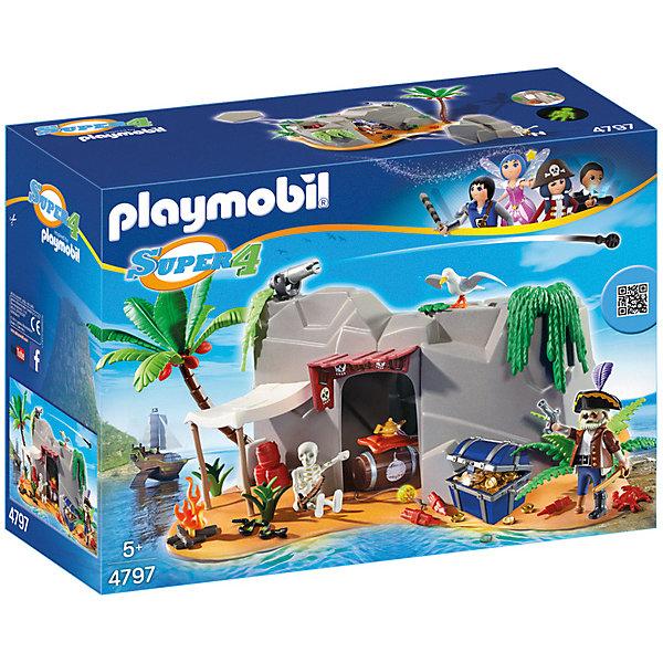 Конструктор Playmobil Супер 4 Пещера ПиратаПластмассовые конструкторы<br>Характеристики товара:<br><br>• возраст: от 5 лет;<br>• материал: пластик;<br>• в комплекте: фигурка, пещера, аксессуары;<br>• размер упаковки: 38,5х24,8х15,5 см;<br>• вес упаковки: 1,04 кг;<br>• страна бренда: Германия.<br><br>Игровой набор «Супер 4: Пещера пирата» Playmobil создан по мотивам известного мультсериала «Суперчетверка». Набор включает в себя фигурку пирата и пещеру, в которой он хранит свои боеприпасы и укрывается от противников. Сверху на пещере есть отсек, где можно спрятать сокровища или оружие. На крыше пещеры стоит пушка, которая поворачивается в разные стороны и стреляет снарядами.<br><br>Наборы из серии «Суперчетверка» сочетаются между собой, что позволит создавать свои собственные сценки и наборы.<br><br>Игровой набор «Супер 4: Пещера пирата» Playmobil можно приобрести в нашем интернет-магазине.<br>Ширина мм: 385; Глубина мм: 155; Высота мм: 284; Вес г: 1040; Возраст от месяцев: 60; Возраст до месяцев: 84; Пол: Мужской; Возраст: Детский; SKU: 7966015;